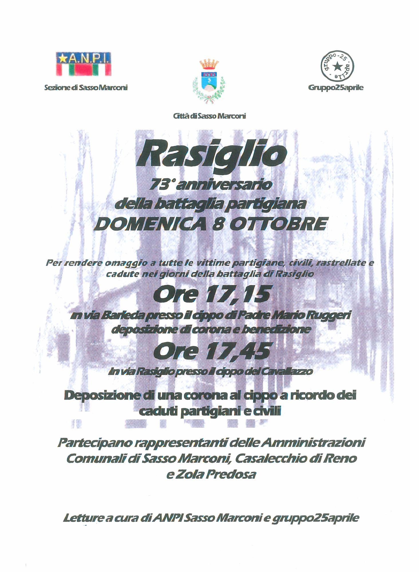 73° ANNIVERSARIO BATTAGLIA DI RASIGLIO - Domenica 8 ottobre