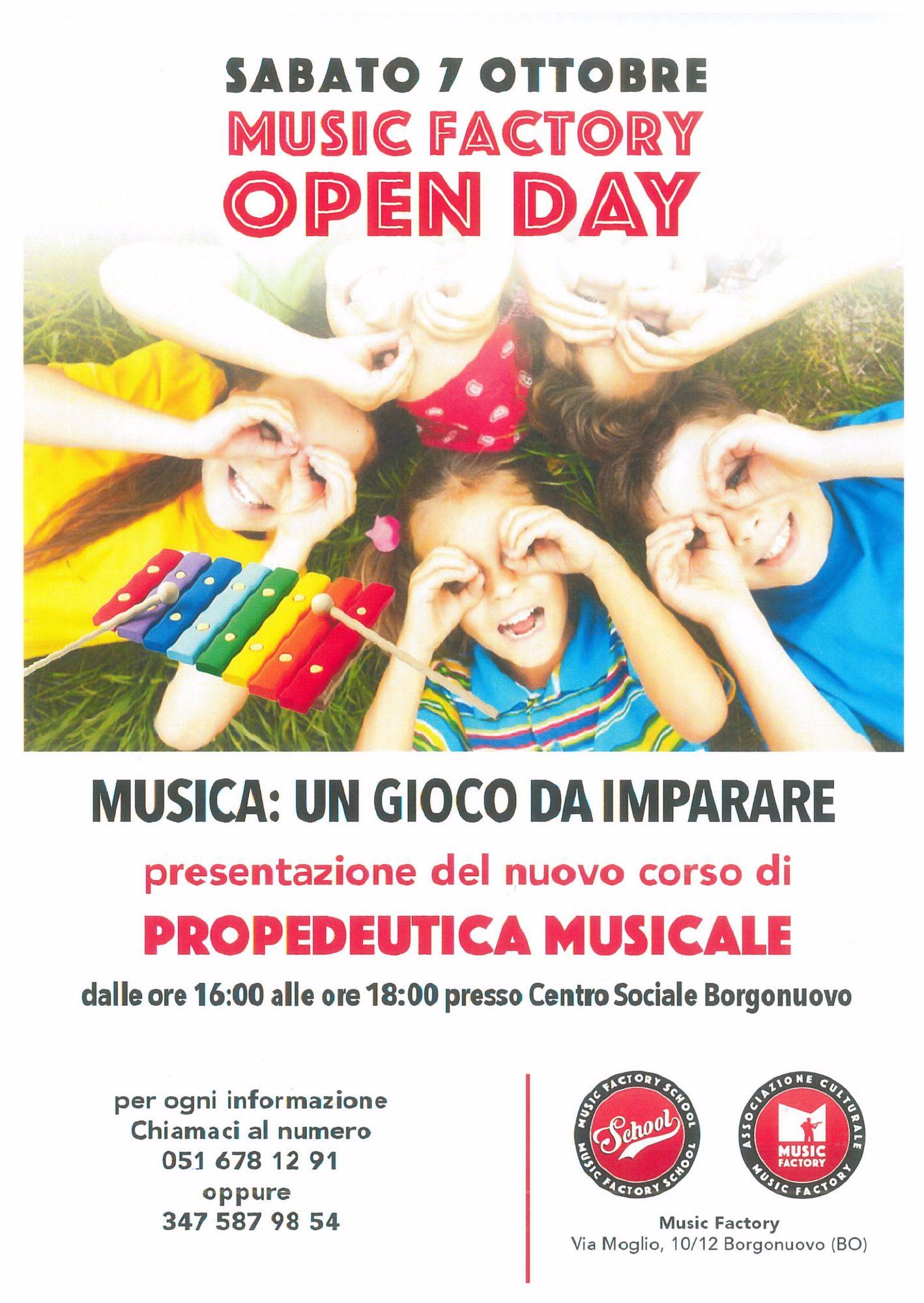 Open Day Music Factory- Presentazione del nuovo corso di PROPEDEUTICA musicale per Bambini