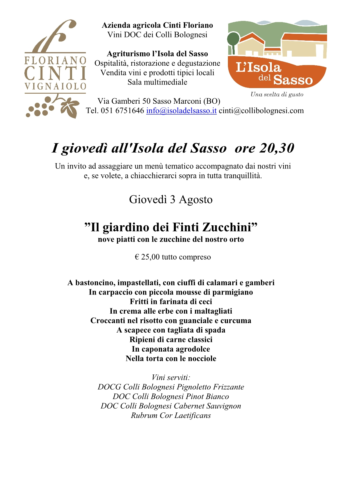"""""""Il giardino dei Finti Zucchini""""I giovedì all'Isola del Sasso"""