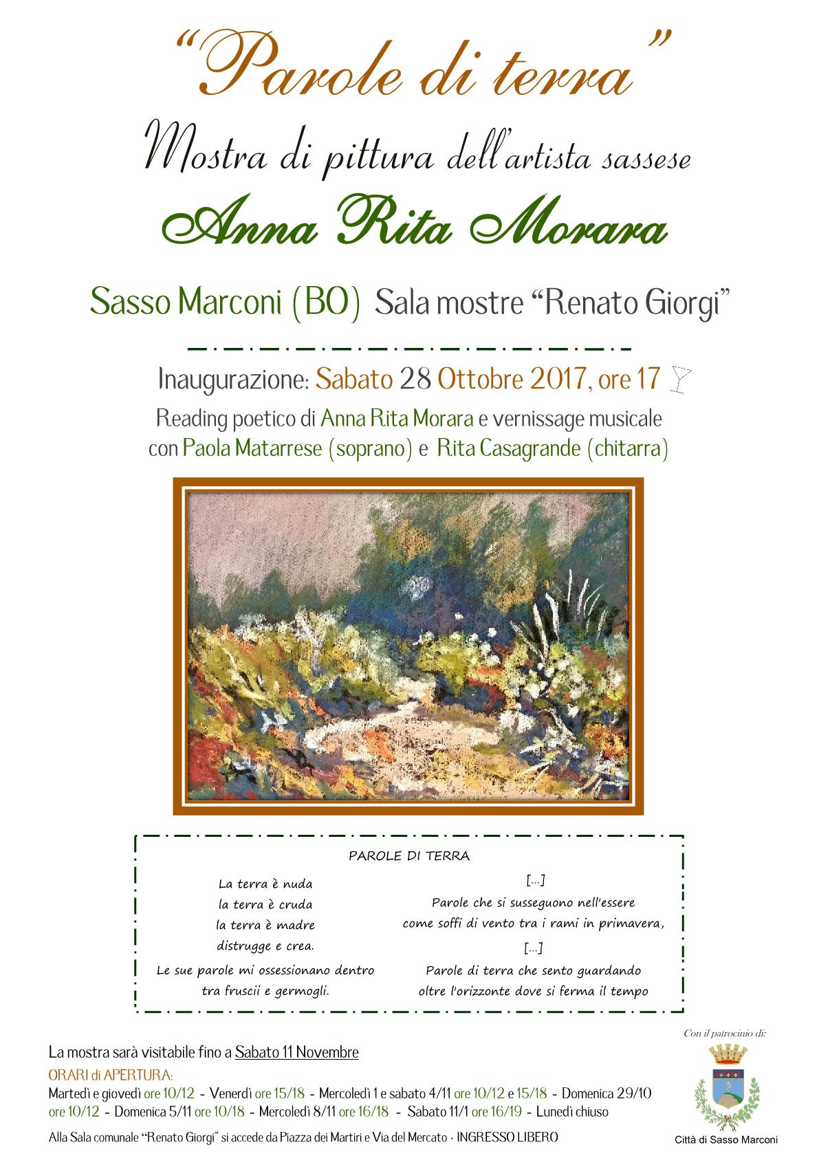 """""""Parole di terra"""" Mostra di pittura dell'artista Sassese Anna Rita Morara"""